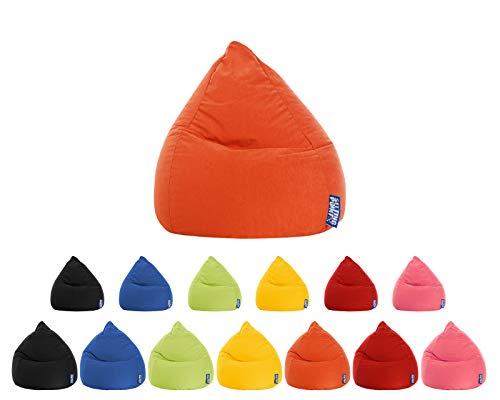 lifestyle4living Sitzsack für Kinder und Jugendliche, Orange, Microfaser Bezug | Pflegeleichter und bequemer Beanbag Easy L Liegesack 120l