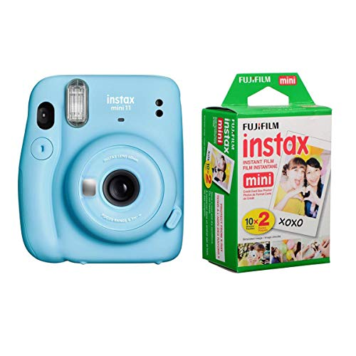 Fujifilm Instax Mini 11 Cámara de película instantánea, azul cielo, con película de luz diurna instantánea Fujifilm Instax Mini paquete de 20 exposiciones