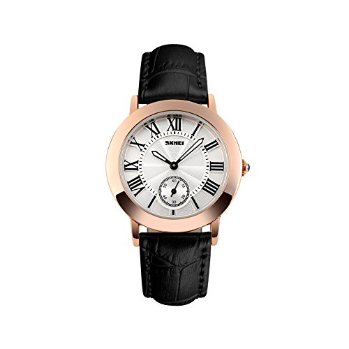 iWatch Reloj de pulsera para mujer, resistente al agua hasta 30 m, analógico, de cuarzo, correa de piel, reloj deportivo con números romanos, esfera negra