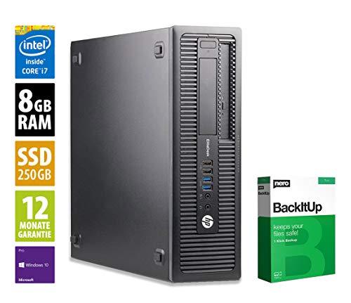 HP EliteDesk 800 G2 SFF | Office PC | Computer | Intel Core i7-6700 @ 3,4 GHz | 8GB RAM | 250GB SSD | DVD-Brenner | Windows 10 Pro (Zertifiziert und Generalüberholt)