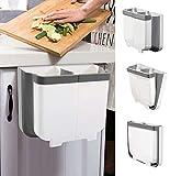 TvvaaFog 13L Mülleimer Küche Faltbare Mülleimer der neuen Generation Küche für Schranktür Autoset, h?ngende Mülltonne (grau)