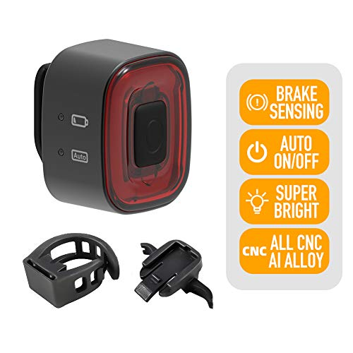 ENFITNIX Luces traseras de Bicicleta CubeLite II Luz Trasera Recargable USB Detección de frenado automático Luz LED Luces traseras Inteligentes IPX5 Impermeable Advertencia Nocturna