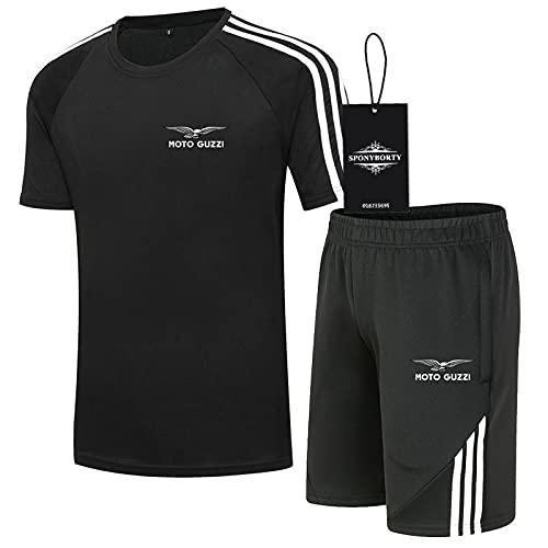 CONVERMPU Dos Piezas Camiseta + Pantalones Cortos Manga Corta 100% cotton Moto-GuZzi Impresión Cima Hombres Algodón Casual Chandal Colocar Sudadera Gimnasio Chicle/Negro/XL