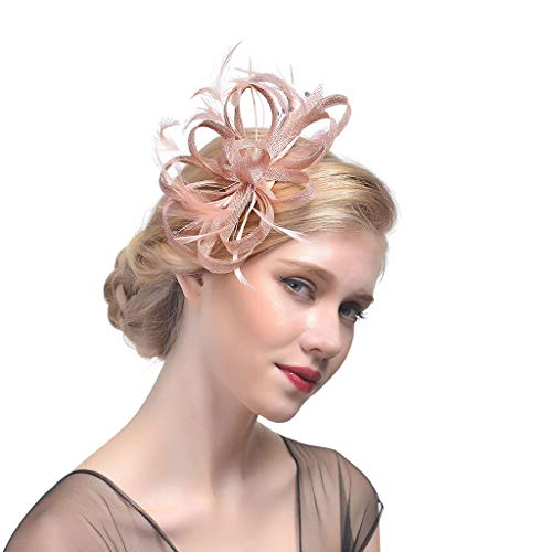 PHILSP Clip Pin Wedding Bridal Fascinator Hat Ruffles Flower Feather Tea Party Women Girls Hair Clip Glitter Strass Vintage Banquet Headwear Champagne