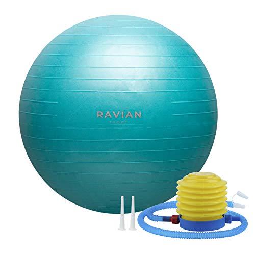 Pelota de ejercicio de 55cm, extra gruesa para el yoga, pelota de yoga suiza, a prueba de explosiones con bomba de pie rápido, pelota de parto para pilates, embarazo perfecto para el fitness