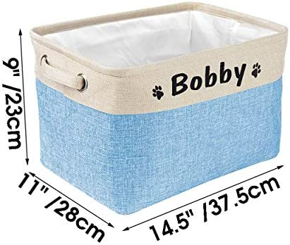 PET ARTIST Panier de rangement pliable pour jouets pour chien avec nom personnalisé – Boîte de rangement rectangulaire pour jouets, manteaux, vêtements et accessoires pour chien, bleu