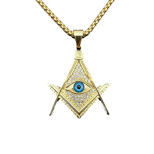 Rock Cz Zircon Pavimentado Color Dorado Acero Inoxidable Illuminati Eye Freemason Collares Colgantes Masónicos Para Hombres Joyería
