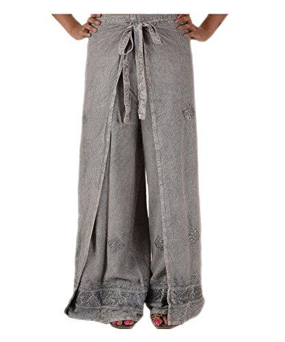 Skirts N Scarves Damen Wickelhose, bestickt, Rayon, Grau Gr. One size , grau