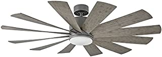 Modern Forms FR-W1815-60L-GH/WG Windflower 60 Inch 12 Blade Indoor/Outdoor Smart Fan with Six Speed DC Motor and LED Light in Graphite Finish Works with Nest, Ecobee, Google Home and IOS/Android App