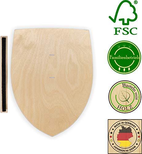 Herr Bo & Co Ritterschild aus unbehandeltem 3mm Birkensperrholz, inkl. Halteschlaufe aus hochwertigem doppelseitigem Klettband, FSC-Zertifiziert, Made in Germany