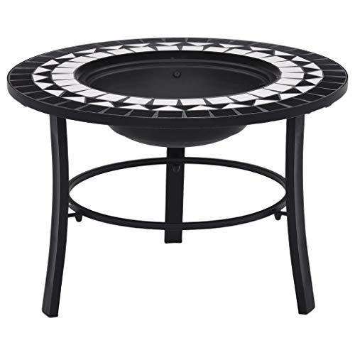 BBQ FIRE PIT For Wood, Fire and Cooking Charcoal Barbeque Grill Kit, Round Mosaic Ceramic Table Top, Outdoor Space Heater, Metal Basket FIREPIT Bowl for Patio Heating, black and white