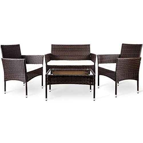A-myt cómodo y hermoso Céspeds y patios traseros, asientos de cojín digno de jardines, asiento y sillas de triple de ratón para todo clima con mesa de vidrio tratada, 4 terraza exterior Simple y gener