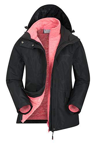 Mountain Warehouse Thunderstorm Womens 3 in 1 Jacket - Waterproof Outer Ladies Rain Coat, Adjustable Features, Detachable Fleece Inner Jacket - for Winter, Outdoors Black 4