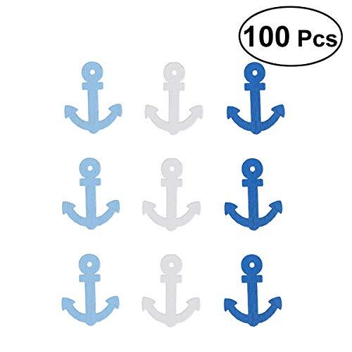Vosarea Lot de 100 pendentifs en bois en forme d'ancre en forme de bateau