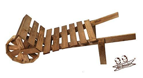 BLIZNIAKI Dekorative Schubkarre aus Holz Wetterfest 104x41x40cm Imprägniert Blumenbank Pflanzschubkarre Blumentopf Auf dem Grundstück, Terrasse Garten TD3 O