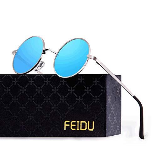 FEIDU Retro Vintage Runde sonnenbrille herren - Polarisiert mit rundem Metallrahmen,sonnenbrille damen FD 3013 (Blau, 1.81)