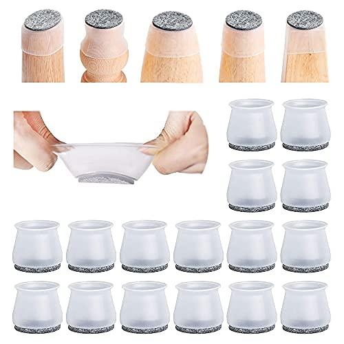 16 protectores de patas de silla para suelos de madera dura, almohadillas de fieltro de silicona antideslizantes, fundas para patas de mesa de movimiento