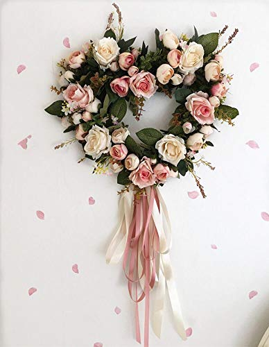 mezly Beautiful Wedding Party Home Decor Artificial Rose Flowers Wreath Round Heart Shape Floral Loop for Wall Door Hanging Decoration- Eucalyptus Garland- Grapevine wreath-33cm