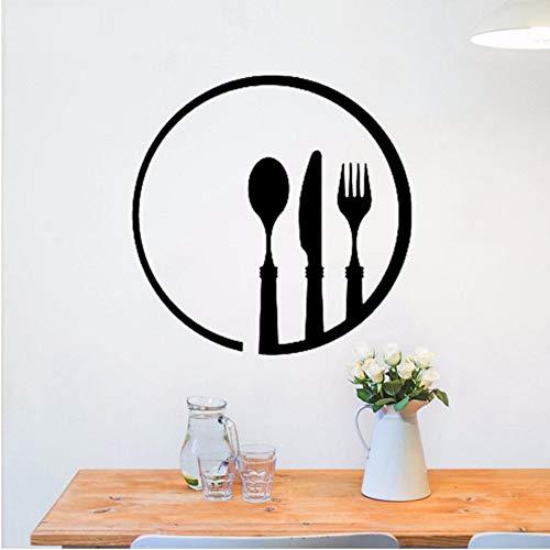 Syssyj Cuchillo Tenedor Cuchara Patrón Pegatinas De Pared Cafe Restaurant Logo Cocina ViniloDecoración Moderna Mural Creativo 57 * 57 Cm