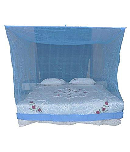 Shahji Creation Polyester King Size Bed HDPE Mosquito Net, Blue (6X7 Feet)