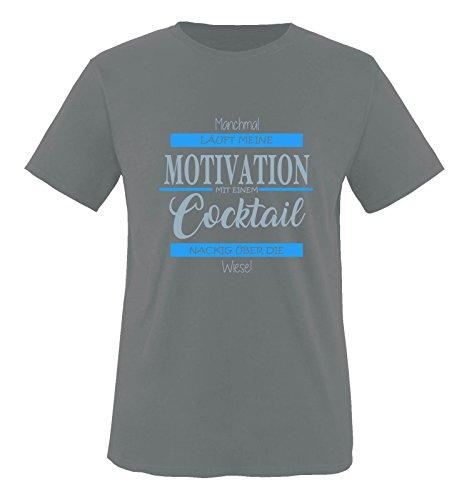 Comedy Shirts - Manchmal läuft Meine Motivation mit einem Cocktail nackig über die Wiese - Herren T-Shirt - Dunkelgrau/Eisblau-Blau Gr. XL