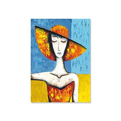 JHGJHK Nórdico Moderno Personaje Abstracto Retrato Arte Cartel Imagen decoración del hogar Dormitorio Sala de Estar decoración del hogar Pintura al óleo (Imagen 6)