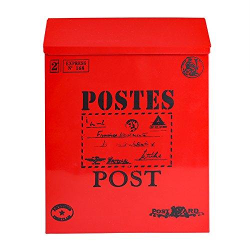 winomo Landschaft Mailbox klein Vorschlagsbox Eisen Tabelle Mailbox Vintage Wahlurne mit Schloss (rot)