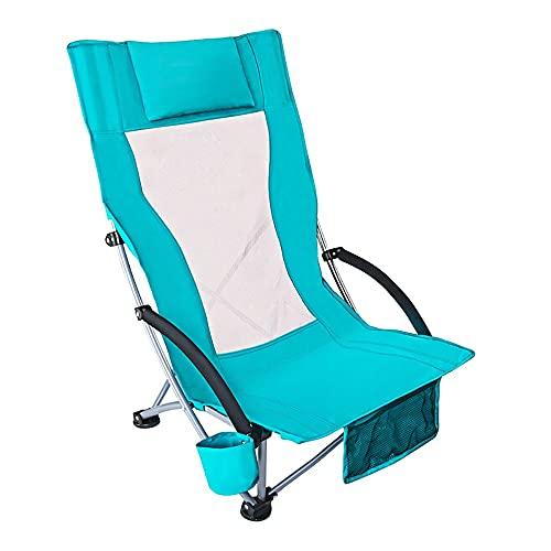 NAINAIWANG Low Sling Beach Chair Strandstuhl Campingstuhl Klappbare Leichte Sandlehne mit Mesh Rückenlehne Ultraleichte Rucksackstühle Camping Tragbare Klappstühle für Erwachsene Stühle