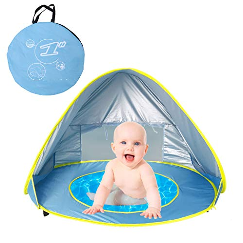 CapsA Baby Beach Tent Pop Up Portable Shade Pool UV Protection Sun Shelter for Infant Sunscreen Beach Umbrella Baby Pool for Infant Baby (Blue)