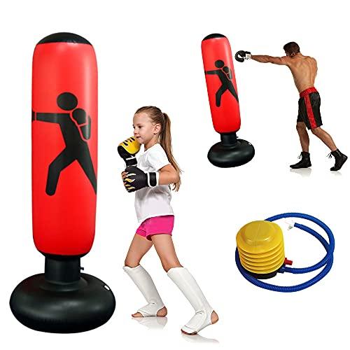 Sacco da Boxe Gonfiabile 160cm, Sacco da Boxe da Terra per Adulti Bambini, Punching Bag Autoportante...