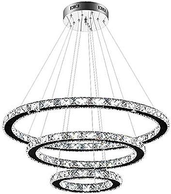LAMP Anillo De Cristal LED Araña Moderna Minimalista Araña De Cristal Anillo De Acero Inoxidable Creativo Lámpara Colgante 3 laps 30+50+70CM