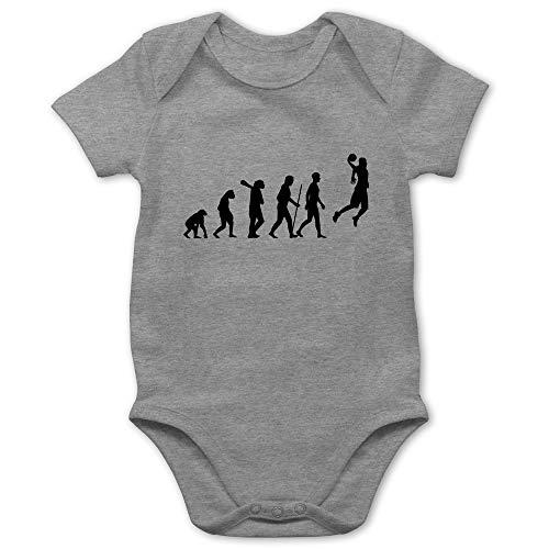 Shirtracer Evolution Baby - Basketball Evolution - 1/3 Monate - Grau meliert - Basketball Baby - BZ10 - Baby Body Kurzarm für Jungen und Mädchen