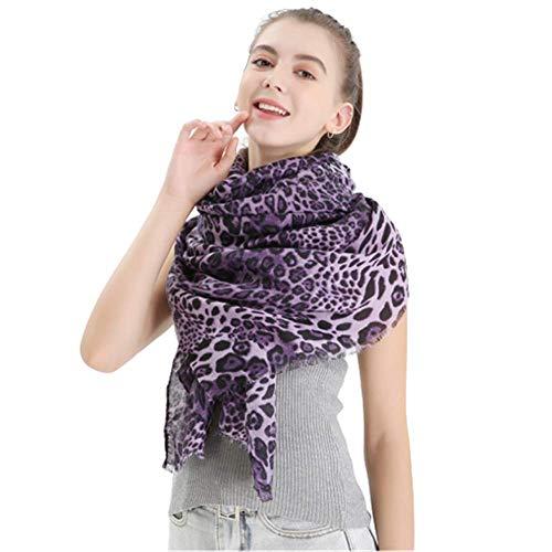Bufanda Con Estampado De Leopardo, Bufanda Cálida Para Mujer, Mantón De Punto De Leopardo De Algodón Satinado