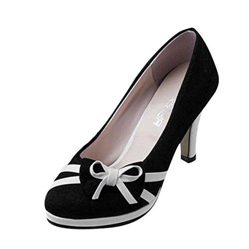 VJGOAL Damen Pumps, Frauen Mädchen Spring Fashion Runde Zehe Bowknot Shallow Hochhackige Hochzeit Schuhe Frau Geschenk (35 EU, Schwarz)