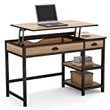 Tribesigns Rustic Lift Top Computer Desk with Drawers, 47 inch Writing Desk Study Table Workstation with Storage Shelves, Height Adjustable Standing Desk for Home Office, Small Spaces (Oak)
