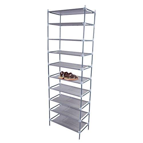 æ— Zapatero de 10 niveles, tela no tejida, organizador de almacenamiento de zapatos, gabinete de torre para entrada, armario, oficina en casa