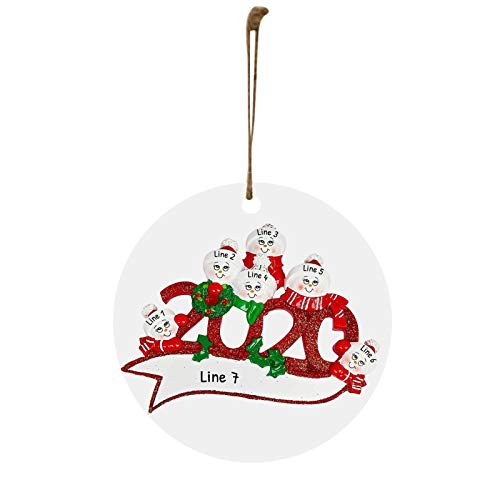 UNKN 2020 Badly but Merry Christmas/Tree Decoration-2020 Quarantine Survivor Family Customized/Wooden Ornaments for Christmas Party, Christmas Parade, Carnival, Birthday Party (Ornament GE)