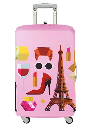 LOQI Artist Hey Studio Paris Luggage Cover, Size - Medium Organizer per valigie, 65 cm, Multicolore (Multicolour)