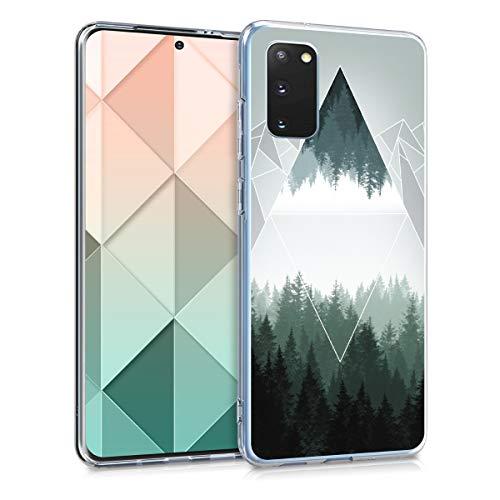 kwmobile Hülle kompatibel mit Samsung Galaxy S20 - Handyhülle - Handy Hülle Wald Gebirge Dreiecke Grün Weiß Grau