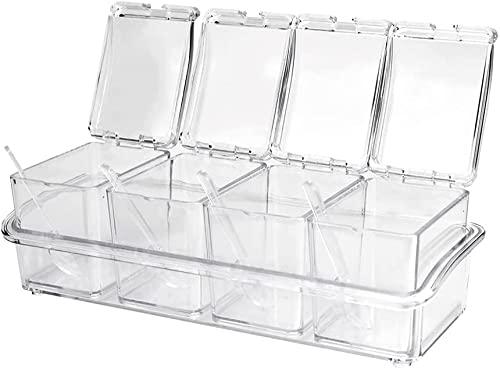 Set di 4 contenitori portaspezie da cucina in acrilico trasparente con cucchiai e coperture per sale, pepe, zucchero, spezie, zucchero