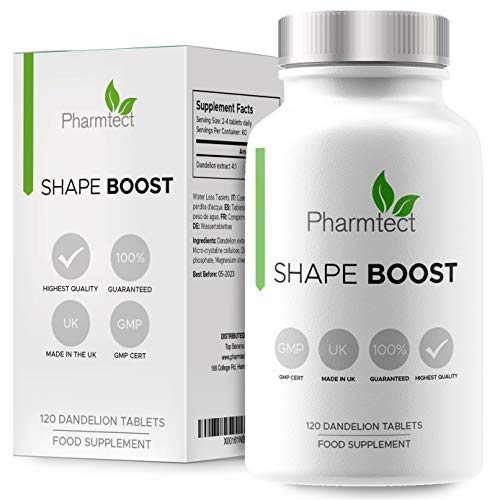 Shape Boost Dandelion Root Tablets | Highly Effective Water Retention Pills & Water Loss, Detox Cleanse | Removes Excess Water & Reduce Bloating | 120 Vegan Capsules UK Made