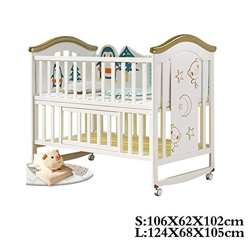 XY kinderbetten Kinderbett Co-Sleeping Höhenverstellbar, Weiß Lackiert Kinderbett (Color : White, Size : L)