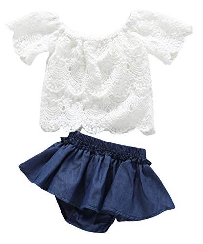 DEMU baby meisjes 2-delig kant shirt rok jeans onderrok kleding sets outfits babykleding