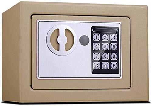 Tresore Safes Digital Security - Tasto di avviamento con tastierino di copertura manuale, adatto per Business familiare o in viaggio, 17 x 23 x 17 cm, Oro