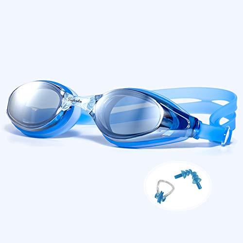 FDQNDXF Gafas de natación, Gafas de natación Unisex para Adultos con Pinza Nasal y Tapones para los oídos Correa Ajustable antivaho hermética Ajuste cómodo Entrenamientos de natación,Azul