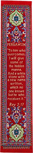 Woven Fabric Christian Bookmark, Pergamum, Signs of The End Times, Promises of The Seven Churches of Revelation, Silky Soft Revelations 2:17 Bookmarker for Novels Books and Bibles