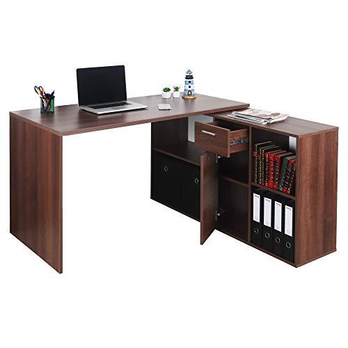 RICOO Eck-Schreibtisch Arbeitstisch Winkel-Kombination Bürotisch (WM081-OW) Computer-Tisch (Flexibel 90-180°) Holz Braun Walnuss mit Regal Akten-Schrank Low-Board