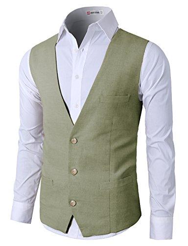 H2H Mens Classic Casual Slim Fit Stylish Suit Solid 3 Button Linen Vest Khaki US L/Asia XL (CMOV039)