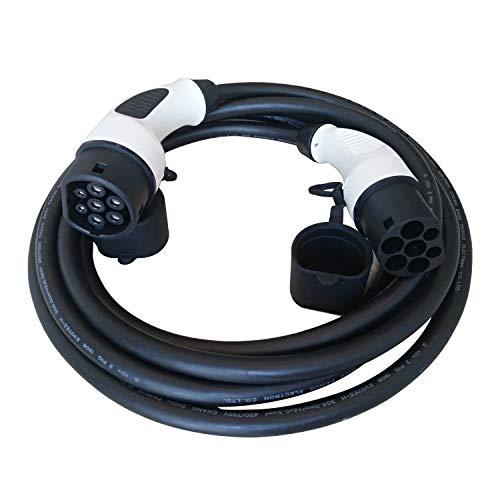 K.H.O.N.S. Tipo 32a del Coche eléctrico del Cable del Cargador Cable ev 2 para Tipo de Conector 1 2 Fase 7,4 kw Hembra a Macho para ev estación de Carga, iec62196-2,7.4kw, 5m / 16 pies