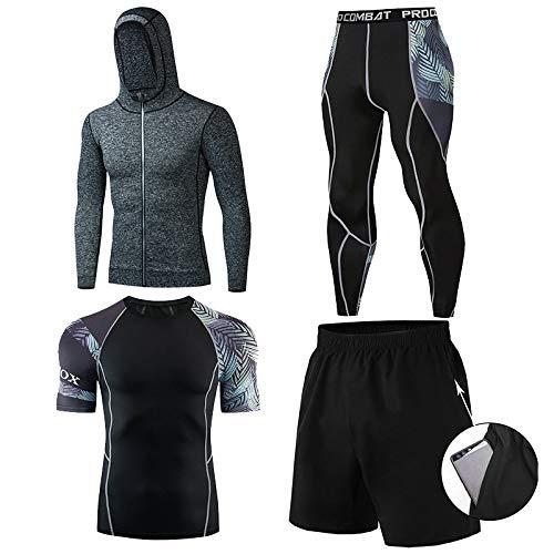 GHQYP Camiseta Basket Hombre,Ropa de Atletismo de Gimnasio Traje de Entrenamiento de Baloncesto Ajustado para Correr por la Mañana, Juego de 4 Piezas,Style4,XL